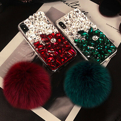 3D Luxury Fur ball pendant bling diamonds crystal rhinestone phone case cover H8