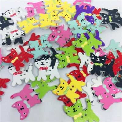 50pcs Mélange Animal 2 Trous Chat Gabarit Boutons en Bois Couture Artisanat Hot