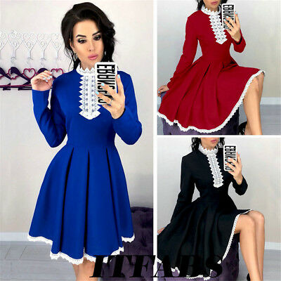 Women's Long Sleeve Casual Bodycon Lace Party Evening Cocktail Swing Short Dress