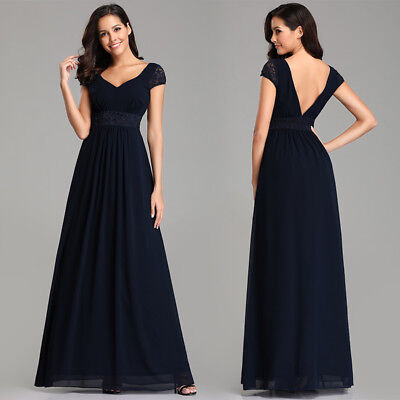 Ever Pretty Uk 34 Sleeve Lace Black Evening Gown Long Bridesmaid