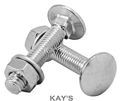 M6 6mm CARRIAGE BOLTS CUP SQUARE COACH SCREWS, NUTS & WASHERS A2 STAINLESS STEEL