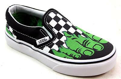 97f003fa9d Kids Boys Vans Marvel Slip On Checkered Hulk Feet Canvas Pumps Trainers Size  11