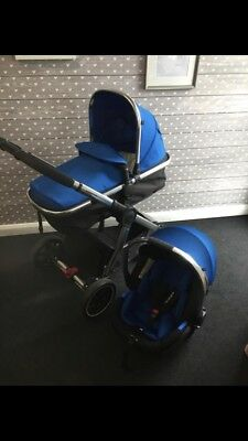 4f04d7d3ddc7 Mothercare 4 wheel journey chrome travel system blue (used Exc condition)