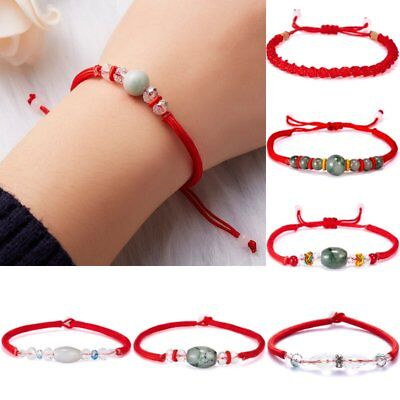 Adjustable Lucky Red Unisex Stone Beads Weave Braid Bracelet Bangle Simple Chain