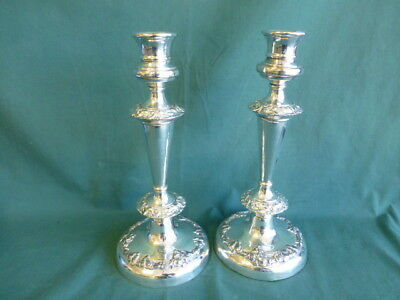 Pair of Antique Silver on Copper Candlesticks