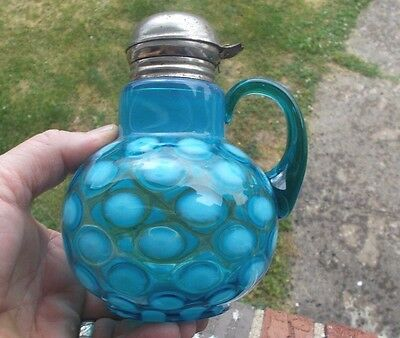 Antique Blue Opalescent Coin Dot Syrup Pitcher Original Flip Lid Applied Handle