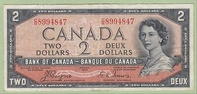 1954 Bank of Canada Two Dollar Note Devil's Face -Coyne/Towers - C/B8994847 - VF