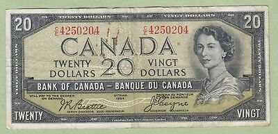 1954 Bank of Canada 20 Dollar Note Devil's Face -Beattie/Coyne-C/E4250204 - Fine