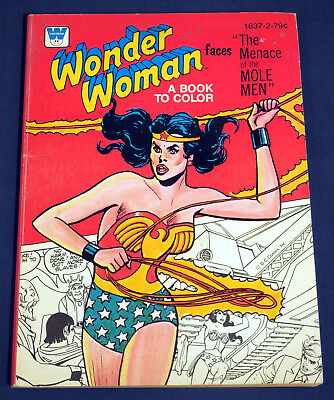 Wonder Woman faces The Menace of the Mole Men - A Book to Color Vintage Coloring