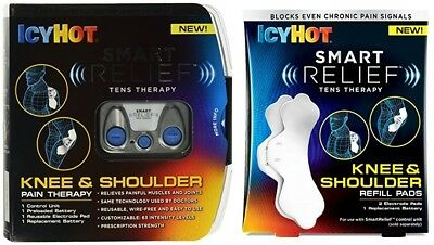 IcyHot Smart Relief TENS Knee & Shoulder Therapy w/ Pad Refill BOX DAMAGE A355