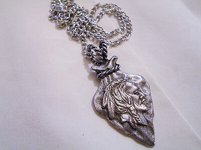 bling pewter tribe native indian arrowhead charm chain hip hop necklace jewelry