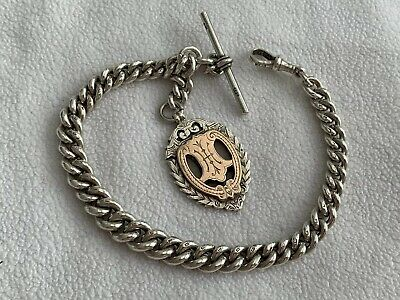 Heavy Antique Victorian Solid Silver Albert Pocket Watch Chain & Fob Medal