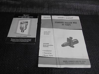 Old vtg 1950's Sears roebuck STANDARD SHALLOW WELL JET PUMPS OWNERS MANUAL