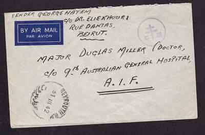 Lebanon 1942 censored cover to FPO 61 AIF 9th Australian General Hospital Dr. Do