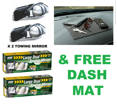 2 x Maypole MP8324 Convex and Flat Glass Towing Mirror MP8324 & FREE Dash Mat