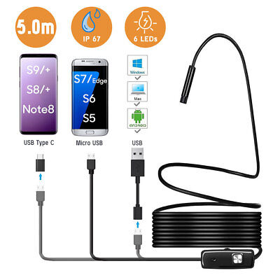 For Galaxy S9 Micro/USB C Endoscope Borescope Waterproof Inspection Camera 6 LED