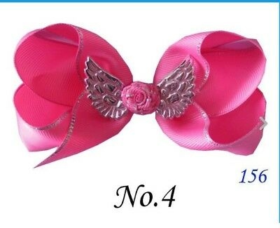 "10 BLESSING Good Girl Boutique 4.5""  ABC Hair Bow Clip Angel Wing Accessories"