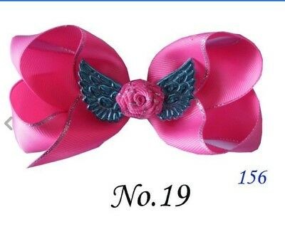 "100 BLESSING Good Girl Boutique 4.5""  ABC Hair Bow Clip Angel Wing Accessories"