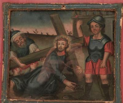 Antique Oil Painting~Church Art~Stations of the Cross~Jesus Falls~Cuzco School