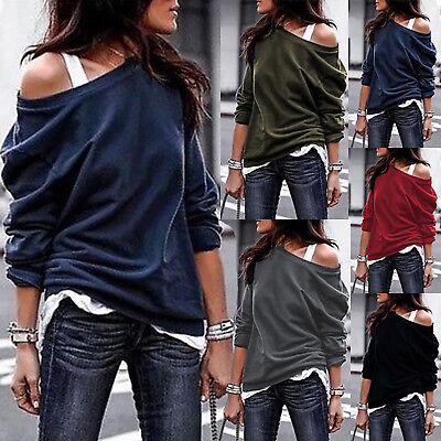 Womens Off The Shoulder Jumper Ladies Tops Oversized Blouse Baggy Sweater