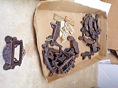 14 Old Matching Apothecary Drug Store Window Lable 2 pc. Cast Iron Drawer Pulls