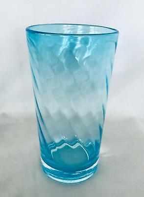 Collectible Turquoise Blue Hand Blown Swirled Art Glass Vase - Polished Pontil