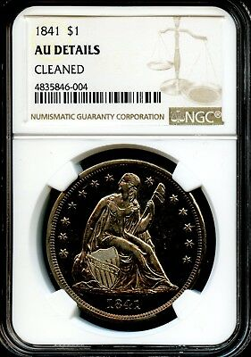 1841 $1 Ngc Au Details (About Uncirculated Details) Liberty Seated Dollar Sh128