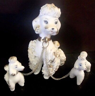 Vintage White Spaghetti Poodle With Two Puppies Porcelain Marked Japan