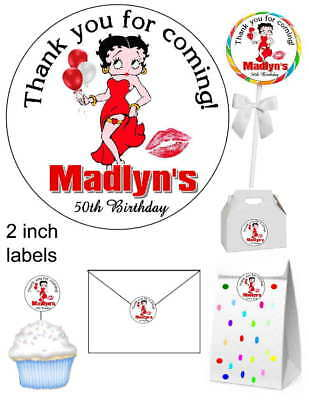 20 Betty Boop Birthday Party Favors Stickers Labels For Your