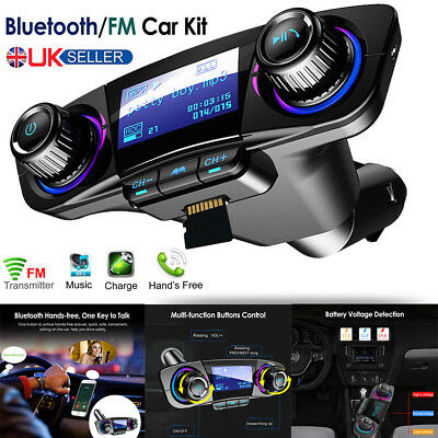 Bluetooth Car FM Transmitter Wireless Radio MP3 Music Player + 2 USB Charger Kit