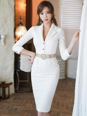 Sexy Womens Slim Fit Wrap Dress OL Office Ladies Suits Collar Dresses Hot Yoooca