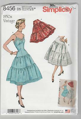 Simplicity Pattern 8456 Miss 1950's Vintage Petticoats and Slip Sz 4-12