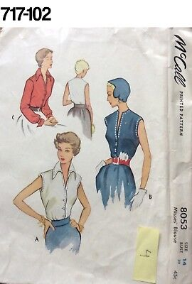 Vintage Sewing Pattern McCalls #8053 1950 Blouse Pattern Complete