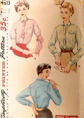 Vtg 1950s Sewing Pattern Simplicity #4813 Womens Blouse Size 12 Bust 30