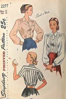 Vtg 1950s Sewing Pattern Simplicity #2277 Size 12 Bust 30 1 Piece Womens Blouse