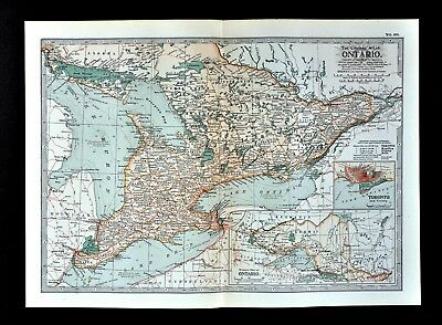 1917 Poates Map Ontario Toronto Niagara Falls London
