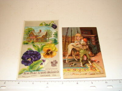 2 Antique Victorian Trade Cards Advertising Sewing Machines New Home Sew