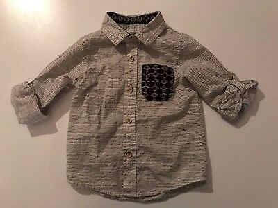 Genuine Kids From Oshkosh Boy Toddler Roll Up Sleeve Button Down Shirt Size 3T