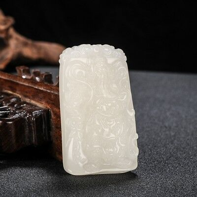 100% Chinese Hand carved natural white Jade Statue Pendant 关公guangong##