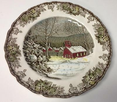 "JOHNSON BROTHERS Friendly Village ""The School House"" Dinner Plates Set of 8 BWT!"