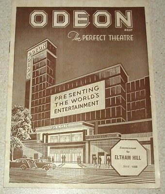 Odeon Theatre cinema, Eltham Hill, Greenwich, November 1938. 12 page programme