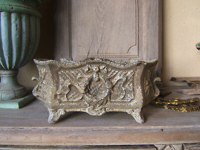 ANTIQUE CAST IRON URN GARDEN PLANTER FRENCH Louis XV style rococo ribbon