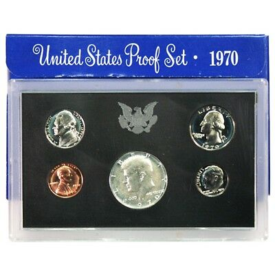 "Rare US 1970 No ""S"" Proof Set (5 Coins), US Mint issue w/original box."