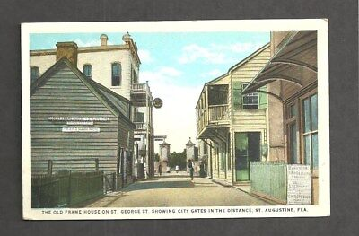 M1350 -Antique Postcard, The Oldest Frame House In U.s.a. St. Augustine, Fl.