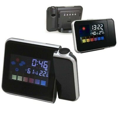 LED Digital Weather Projection Backlight Alarm Clock Color Display LCD Snooze