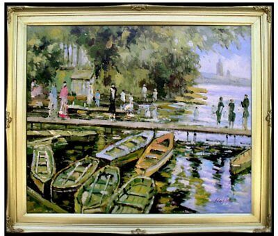 Framed Oil Painting Repro Claude Monet Bathers at La Grenouillere, 20x24in
