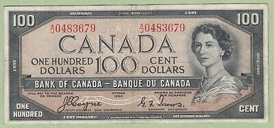 1954 Bank of Canada 100 Dollar Note Devil's Face - Coyne/Towers -A/J0483679 - VF