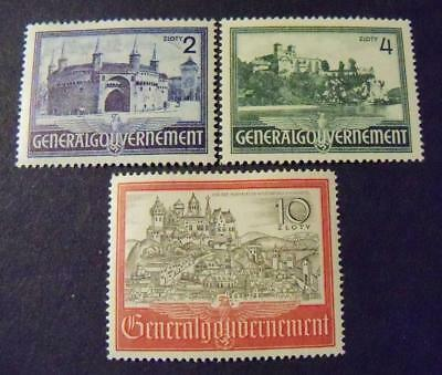 Third Reich WW2 occupationGeneral Government 1941 Polish Castles stamps -MNH-