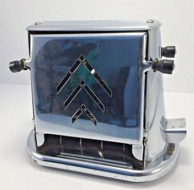 Vintage Samson-United Side-loading Toaster Silver Chrome Antique Fold Flip Down