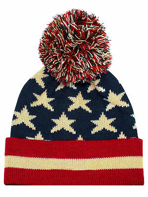 Vintage Red White & Blue American Flag Knit Beanie Hat
